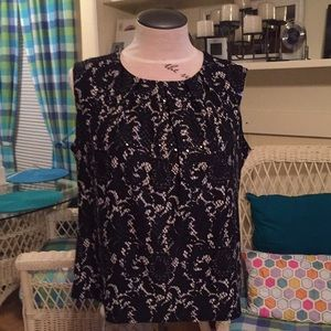 ALFANI 3X sequin, Black/tan stretch sleeveless Top
